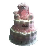 2 Tier Pink Baby Girl Nappy Cake Arrangement