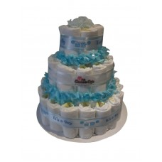 Blue Baby Boy 3 Tiered Nappy Cake